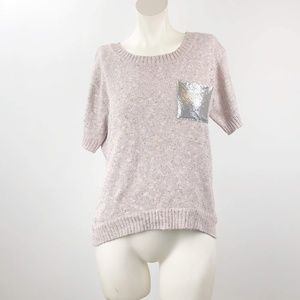 Vintage American Pink Knit Chain Pocket Sweater